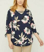 Womens Plus Size 3X 4x 26/28 3/4 Sleeves Floral Blouse Top Catherines Multicolor