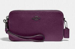COACH Kira Leather Crossbody Double Zip Wristlet Wallet ~NWT~ Purple 88484