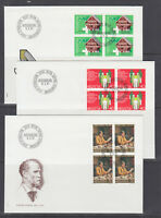 Switzerland Mi 1191/1209, 1981 issues, 4 cplt sets in blocks on 14 FDCs
