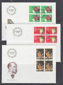 Switzerland Mi 1191/1209, 1981 issues, 4 cplt sets in blocks on 14 FDCs