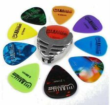 Silver Guitar Pick Holder and 10 free plectrums for Electric Acoustic or Bass