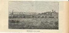 Stampa antica MONTEBELLO veduta panoramica Ossario Pavia 1905 Old antique print