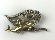 Vintage Jewelry Artisan Silver Dolphin Waves Nautical Brooch Pin Unsigned