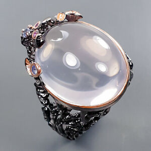 One of a kind SET Rose Quartz Ring Silver 925 Sterling  Size 8 /R177460