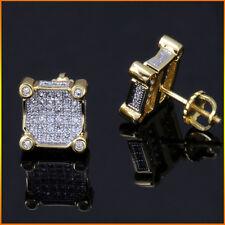 Mens Ladies 18K Gold Filled Simulated Diamond Screw Back Stud Earrings 10mm NEW
