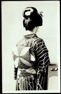 Japan c.1930 REAL-PHOTO - Hairdo & Obi of  Maiko, Geiko studio posed - Monotone