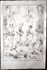 Lithographie originale du XIXe siècle, La communion, FRANQUINET d'après VAN OOST