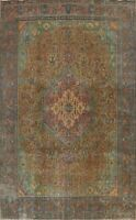 Antique Geometric Tebriz Handmade Area Rug Evenly Low Pile Oriental Carpet 10x13