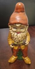"""VINTAGE 1970s STANDING 11"""" CERAMIC GARDEN / LAWN GNOME HANDPAINTED with SATCHEL"""