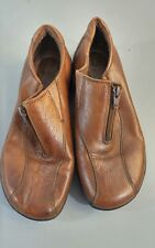 Cobbie Cuddlers Womens Shoes Zip Front Brown Leather Low