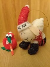New Zealand Xmas tree decorations x3: Festive sheep, kiwi & Santa
