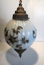 "Vintage Hollywood Regency White Gold Flower Swag Glass Globe Hanging Lamp 19.5"""