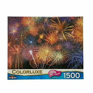 """Cra-Z-Art Colorluxe Fireworks 1500 Pcs Jigsaw Puzzle 23"""" x 33"""" New"""