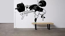 Wall Decor Vinyl Sticker Mural Decal Art Gym Fitness Bench Press Workout FI1135