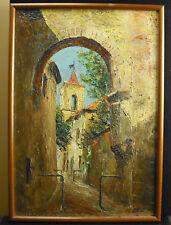 A Rey huile sur toile rue barrée vieille ville d'Orange Vaucluse Paint HST c1930