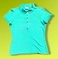 "Womens Lacoste Green Vintage Designer Polo Shirt T-Shirt Size 42 Large P2P 17.5"""