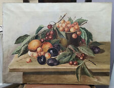 ORIGINAL ANTIQUE OLD CANVAS OIL PAINTING STILL LIFE