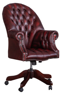 Chesterfield Directors Swivel Executive Desk Chair Antique Red