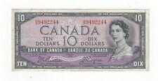 **1954 Devil's Face**Canada $10 Note,Beattie/Coyne BC-32b, Ser# HD 9492244