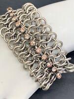 Vintage Heavy Bracelet Chain Mail chunky 1 3/8 wide statement Pink Rhinestone