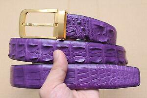 "W 1.3"" Luxury Purple Genuine Alligator Crocodile Belt Skin Leather Men's"