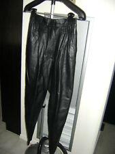 Vintage 1990 Debbie Shuchat Black Leather Pants-Skirt Set - Size 8