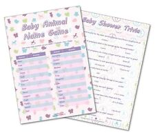 Baby Shower Party Games - 2 GAMES - BABY ANIMAL / BABY SHOWER TRIVIA -20 players