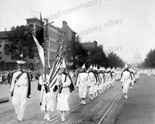 8x10 Print KKK Ku Klux Klan March Pennsylvania Ave Washington DC 1928 #K114