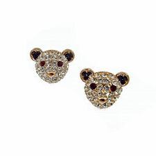 Teddy Baby Bear Stud Pierced Earrings Jewelry Clear Crystal Gold Tone Teen Party