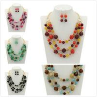 Fashion Women Jewelry Pendant Resin Choker Chunky Statement Chain Bib Necklace