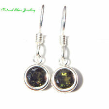 Attractive Natural Moldavite Drop Earrings 1.3 CTW  925 Sterling Silver 6mm