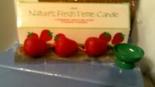 Rhtf Vtg 1983 Avon Nature'S Fresh Strawberry Candles & Holder-Nib-Free Shipping