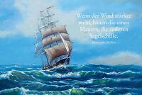 Chinesische Weisheit Segelschiff Blechschild Schild gewölbt Tin Sign 20 x 30 cm