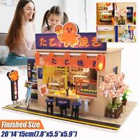 DIY Takoyaki Store Dollhouse Miniature Furniture Kit LED Kids Birthday Xmas Gift