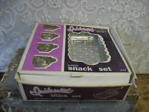 The Federal Glass Company Iridescent 8 Pc Snack Tray And Cup Set In Original Box