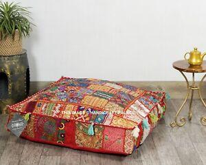 "Indian Floor Pillow Vtg Patchwork Meditation Cushion Cover Dog Bed Square 35"""