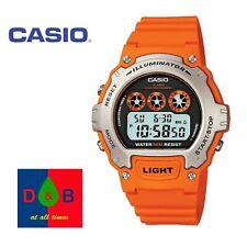 *LOW PRICE* Casio W-214H-4AVEF Gents Mens Boys Digital  Orange Resin Strap Watch