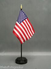 "USA 4X6"" TABLE TOP FLAG W/ BASE NEW DESK TOP HANDHELD STICK FLAG"
