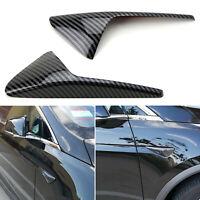Black Carbon Fiber Style Sidemarker Decoration Cover Trims For Tesla Model 3 S X