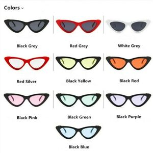 Retro Triangle Cat Eyes Sunglasses Sun Shade Glasses Grey Pink Red Blue Purple