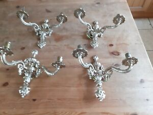 Vintage brass wall lights, 4 in total
