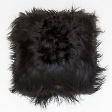 "ICELANDIC SHEEPSKIN LONG SHAGGY FUR CUSHION 60cm EURO FLOOR CUSHION 24""  BLACK"