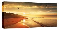 Gran puesta de Sol Mar Playa Sol Cuadro Lienzo Pared Arte Grueso Marco de 113 X 52 Cm