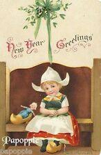Vintage New Years Postcard Fabric Block Holland Dutch