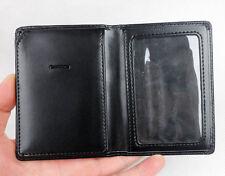 Black Leather ID Card Badge Holder Case
