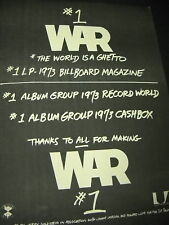 War is Number One Three Times 1973 Promo Poster Ad mint