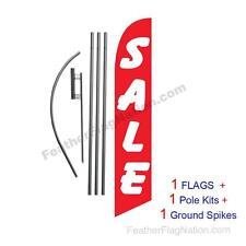SALE (red and white) 15' Feather Banner Swooper Flag Kit with pole+spike