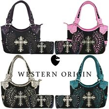 Western Cross Laser Cut Wing Country Handbag Purse Women Shoulder Bag Wallet Set