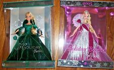 Lot of 2 Holiday Barbie 2004 Green DRESS & 2005 Holiday Bob Mackie
