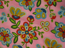 Navajo Native American Beaded Like Floral Colors Pink Cotton Fabric BTHY